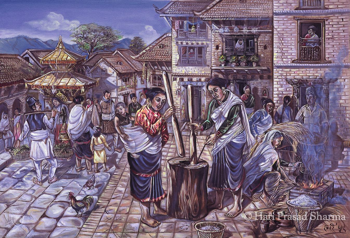 Threshing beaten rice in Okhal