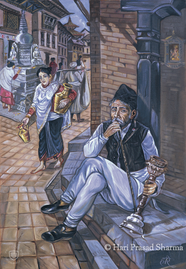 A Newar Gentleman Smoking Hookah